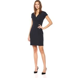 Cap Sleeve Faux Wrap Sheath Dress